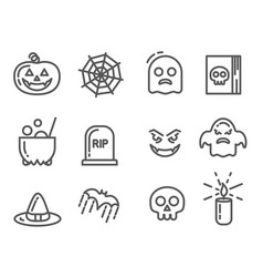 halloween icons set linear signs collection vector image