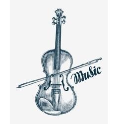 Hand drawn violin sketch vector