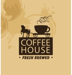 Horse and wagon with a cup of coffee vector