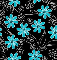 Light blue flowers on black and white embroidery vector