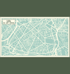 lille france city map in retro style outline map vector image