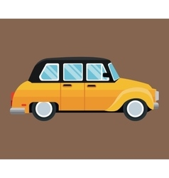 Old taxi car side view brown background vector