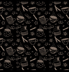 pattern of doodles coffee set vector image