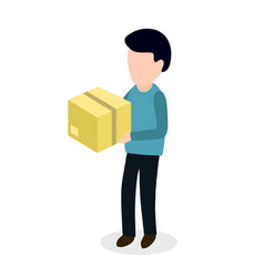 person with box sending parcel vector image vector image