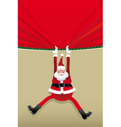 Santa Claus hanging from a poster vector image
