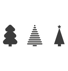 Set of monochrome christmas tree vector image vector image