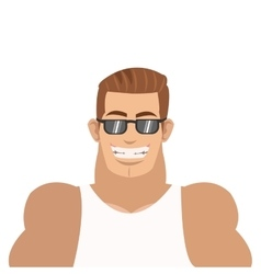 smiling man with sunglasses icon vector image