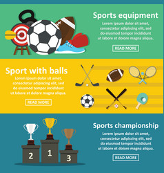 Sport equipment banner horizonatal set flat style vector