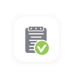 Valid document icon approved report contract vector
