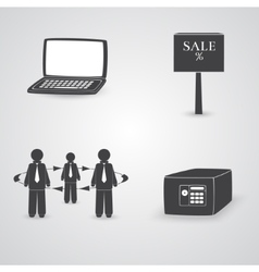 Web Icons on Business Theme vector image