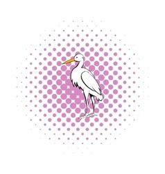 White crane icon comics style vector image vector image