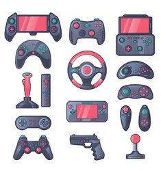 Game gadget color icons set vector