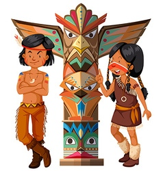 Two native americans and totem pole vector