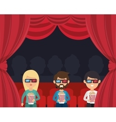 Characters watching 3d film cinema vector