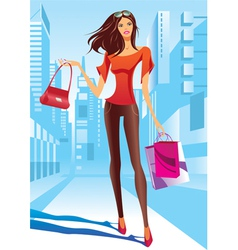 Fashion girl is walking on a street vector