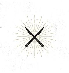Meat cleaver and knife symbols vintage steak house vector
