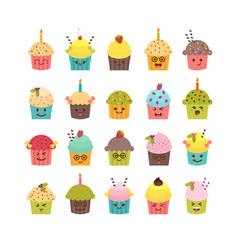 Set of cupcakes and muffins kawaii cupcakes set vector