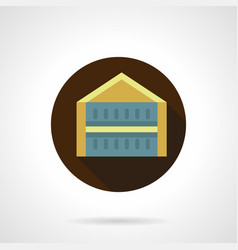 Trade pavilion flat brown round icon vector