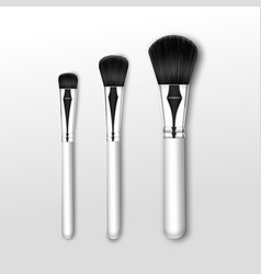 Makeup powder large small brush on background vector