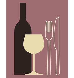 Bottle wineglass and cutlery vector