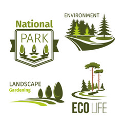 Landscape gardening and ecology symbol set vector