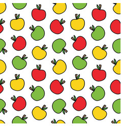 doodle colorful apples seamless pattern background vector image
