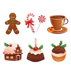 Christmas desserts vector image