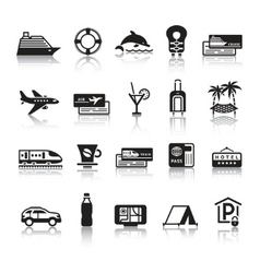 Signs tourism travel sports first set icons vector