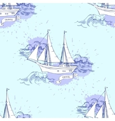 Seamless pattern with ship vector