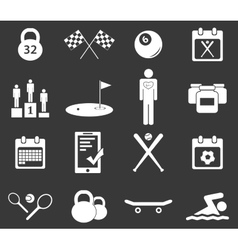 Sport icon set 4 monochrome vector