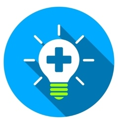 Medical lamp flat round icon with long shadow vector