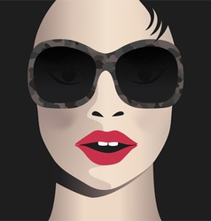 Glamor girl wears sunglasses celebrity vector