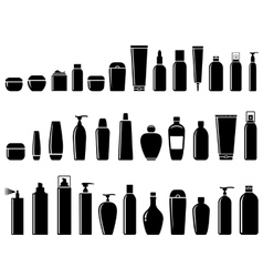 glossy cosmetic bottle set vector image