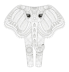 Zentangle Ornamental Elephant for adult coloring vector image