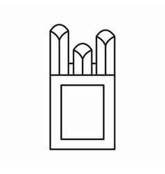 Chalks in carton box icon outline style vector