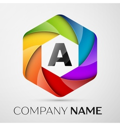 A Letter colorful logo in the hexagonal on grey vector image vector image