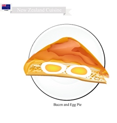 Bacon and egg pie new zealand dish vector
