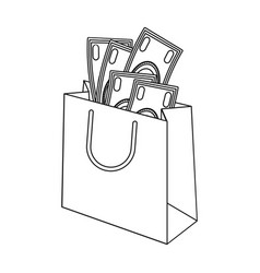Bag with money e-commerce single icon in outline vector