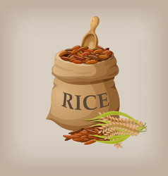 Brown natural long rice in small burlap sack vector