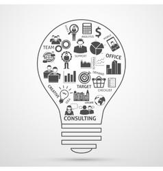 Business team management concept bulb icon vector