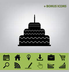 Cake with candle sign black icon at gray vector