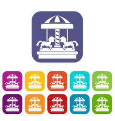 Carousel with horses icons set vector