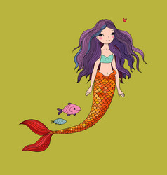 Cute cartoon mermaid and fish siren sea theme vector