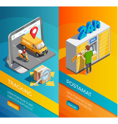 Delivery isometric vertical banners vector