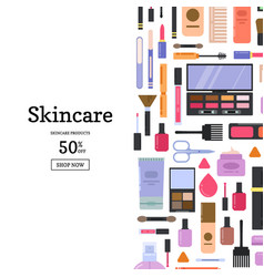 flat style makeup and skincare vector image