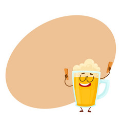 funny beer mug character with smiling human face vector image vector image