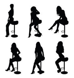 Girl silhouette set on chair in black vector