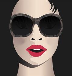 Glamor girl wears sunglasses celebrity vector