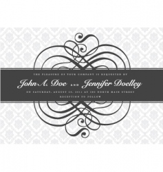Gray ornate swirl banner vector