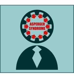Icon flat design Asperger syndrome disorder vector image